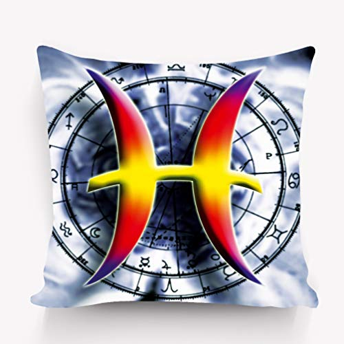 "YILINGER Decor Throw Pillow Cushion Cover,Modern Design Artwork,18""X 18"" Astrological Sign Pisces"