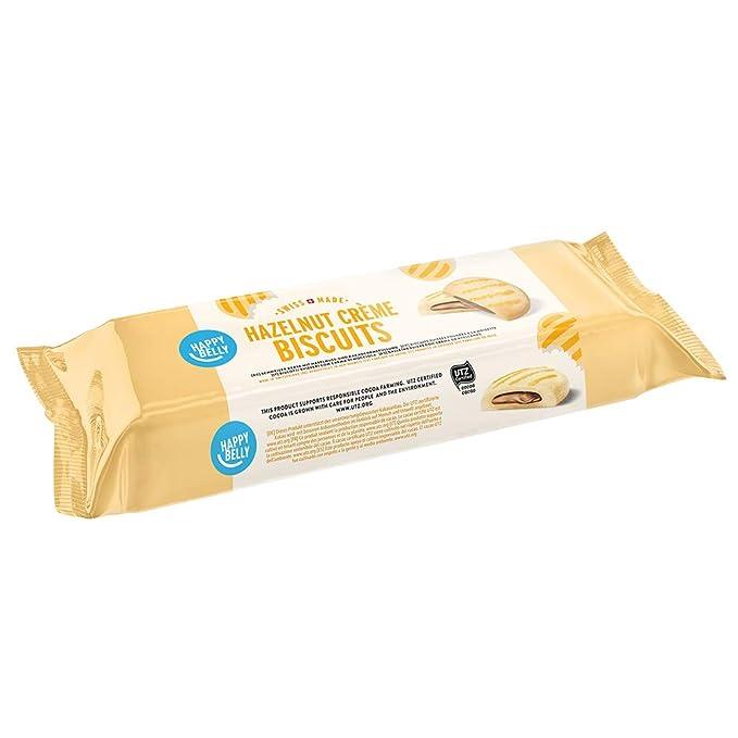 Marca Amazon - Happy Belly - Galletas suizas con relleno de crema de avellanas y cacao, Pack de 4 (4 x 175g)