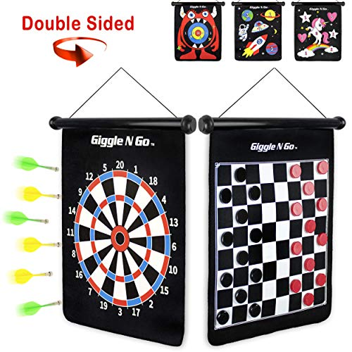 GIGGLE N GO Magnetic Dart Board Game - Our Reversible Rollup Kids Dart Board Set Includes 6 Safe Darts, 2 Dart Games and Easily Hangs Anywhere - Ultimate in Indoor Games (Checkers Theme)