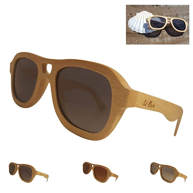 Le Brox - Gafas de sol - para mujer Beige Natural Bamboo XL ...