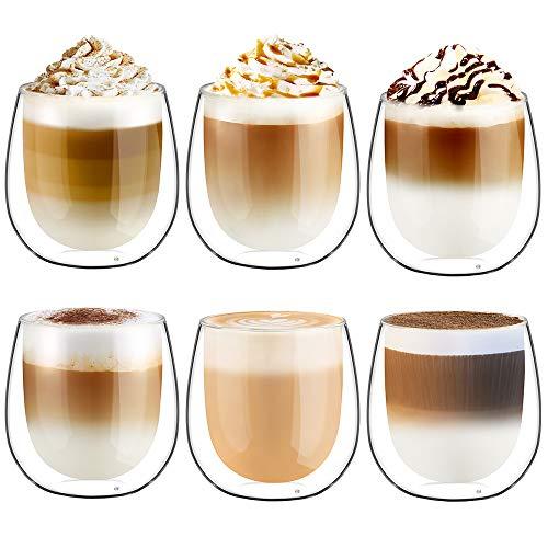 Glastal 250ml*6 Tazas de Café de Cristal,Vasos de Doble Pared Transparente,Tazas de Vidrio Borosilicato para Café,Leche,Té,Latte,Macchiato y Más