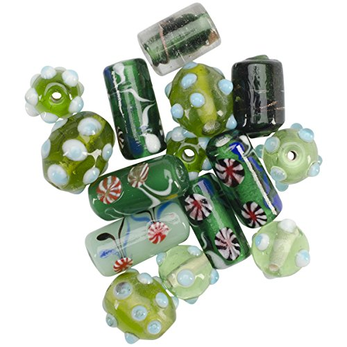 Mode International Square Tube Glass Bead Mix, 2-Ounce, Green Lampwork -