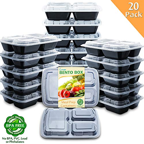 Enther Meal Prep Containers with Lids 20 Pack 3 Compartment Food Storage Bento Lunch Box BPA Free, Reusable, Microwave/Dishwasher/Freezer Safe, Portion Control, 24oz Black Small,