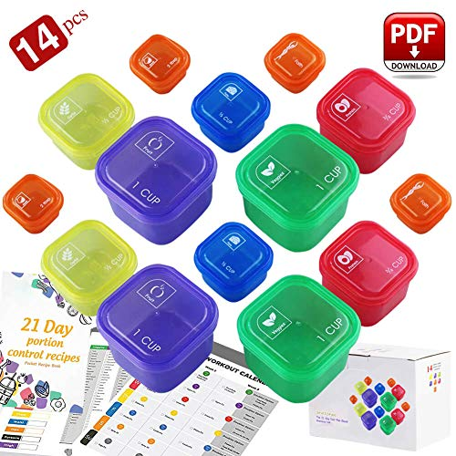 Portion Control Containers - 21 Day Fix Containers and Food Plan - Portion Control Container Kit for Weight Loss - Beachbody Portion Containers with Recipe - Double Set (14-Pieces)
