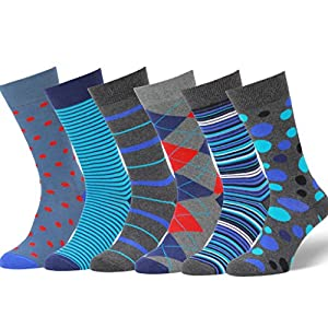 Easton Marlowe Men's Colorful Patterned Dress Socks - 6pk #24, neutral colors - 43-46 EU shoe size