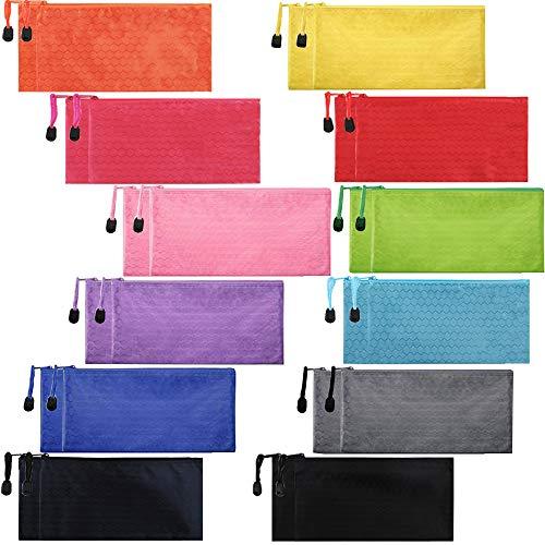 EOOUT 24pcs Zipper Waterproof File Bag Pencil Pouch Pen Case, for Office Supplies Travel Accessories Cosmetic, 12 Colors