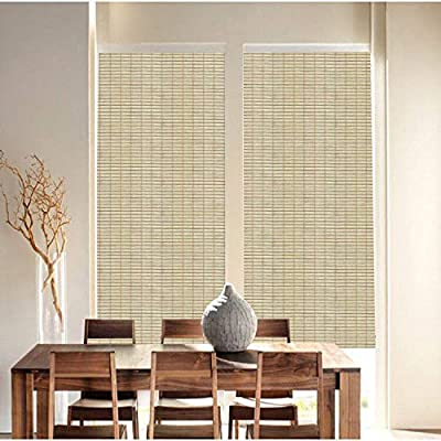 Qualsen Window Film Bamboo Static Decorative Privacy Window Films Non-Adhesive Anti Uv Window Sticker for Home Kitchen Bedroom Living Room (23.6 x 118inch)