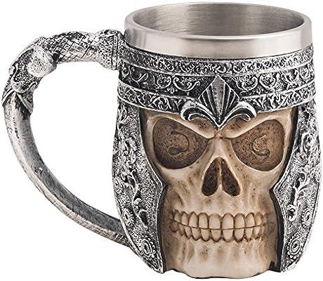 CHICVITA Viking Stainless Steel Skull Coffee Mug Viking Skull Beer Mugs Gift for Men Father