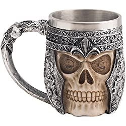 CHICVITA Viking Stainless Steel Skull Coffee Mug Viking Skull Beer Mugs Gift for Men