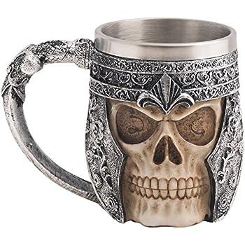 CHICVITA Viking Stainless Steel Skull Coffee Mug Viking Skull Beer Mugs Gift for Men