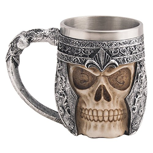 CHICVITA Viking Stainless Steel Skull Coffee Mug Viking Skull Beer Mugs Gift for Men (Halloween Beer Commercial)