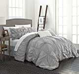 Chic Home Halpert 6 Piece Comforter Set Floral Pinch Pleated Ruffled Designer Embellished Bedding with Bed Skirt and Decorative Pillows Shams Included, King Silver