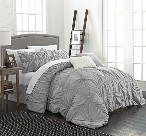 chic home cs1432an halpert floral pinch pleat ruffled designer embellished king comforter set 6piece silver