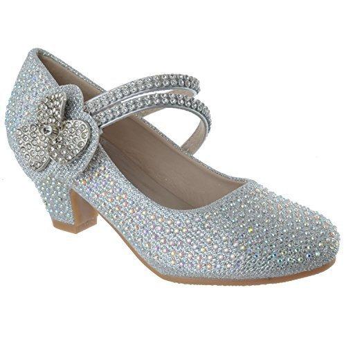 Miss Image UK Neu Mädchen Kinder Niedriger Absatz Party Hochzeit Strass Blumen Sandalen Schuhe Größe Silber Glitzer