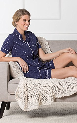 PajamaGram So-Soft Pin Dot Womens Pajamas - 2 Piece PJ Set, Navy, Medium 8-10 by PajamaGram (Image #4)