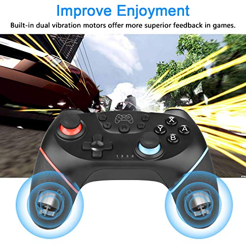 ZoeeTree Wireless Switch Controller for Nintendo, Switch Pro Controller Remote Joystick Gamepad with Rechargeable Battery / Gyro Axis / Dual Vibration / Turbo / Capture Function