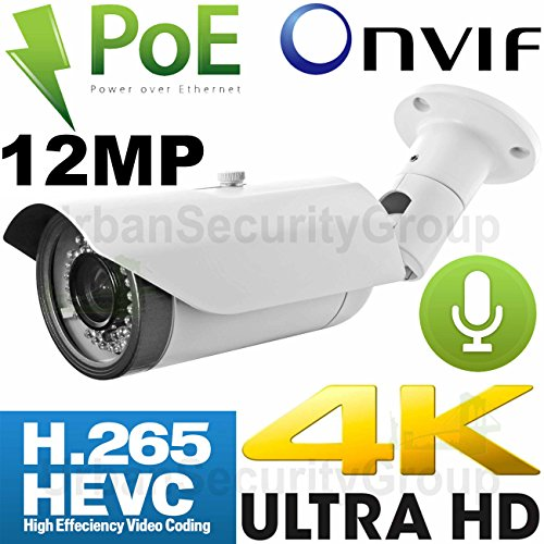 USG Business Grade Ultra 4K 12MP 4000x3000 Sony IMX226 Chip H.265 IP Bullet Security Camera + RCA Audio : 12MP 5mm Lens, Power Over Ethernet, 42x IR LEDs, Weatherproof, ONVIF 2.4 : Phone App