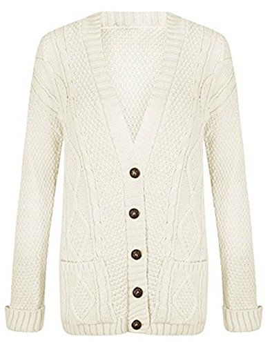 - OgLuxe Women's Long Sleeve Cable Knit Cardigan (M/L (UK 12-14 EU 40-42 US 8-10), Cream)