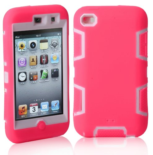 MagicSky Robot Series Hybrid Case for Apple iPod Touch 4 4th Generation - 1 Pack - Retail Packaging - White/Hot Pink