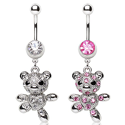 316L Surgical Steel Navel Ring with Teddy Bear Dangle - 14GA Pink L:3/8