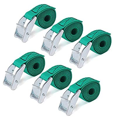 Ratchet-Tie-Downs, URBEST Lashing Straps 2 Ft x 1 Inch Tie Down Straps Luggage Strap Up to 600lbs (6, Green)