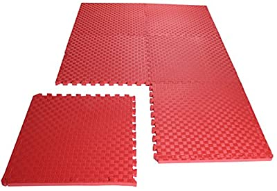 """BalanceFrom 1"""" Extra Thick Puzzle Exercise Mat with EVA Foam Interlocking Tiles for MMA, Exercise, Gymnastics and Home Gym Protective Flooring (Red)"""
