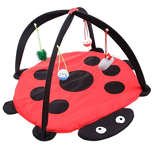 She-love Foldable Cat Play Toy Tent Mat Activity Center Pet Kitten Padded Bed with Hanging Balls and Mice (Ladybug)