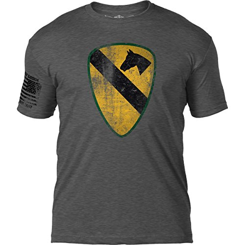 1st Cavalry First Team T-shirt - 7.62 Design Army 1st Cavalry Division 'Distressed' Patriotic Men's T Shirt,Heather Charcoal,Medium