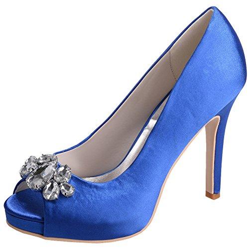 Loslandifen Womens Peep Toe Pumps Raso Strass Encrusted Stiletto Tacco Alto Scarpe Da Sposa Blu
