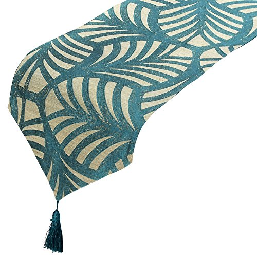 Juvale Table Runner - Polyester Cotton Dresser Runner with Tassels and Leaves Designs, Ideal for Coffee Table Runner, Dining Table Runner, or Kitchen Table Runner, Teal, 78 x 13 x - Reversable Runner Table