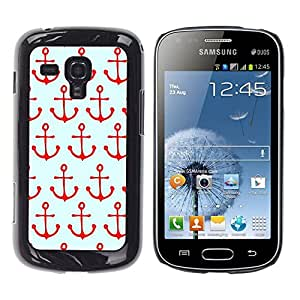 iKiki Tech / Estuche rígido - Pattern Sailing Red Sailor Sea Boat - Samsung Galaxy S Duos S7562