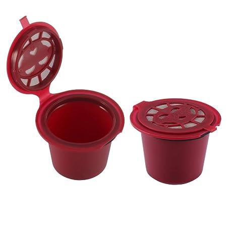 ALLOMN 2 Cápsulas Nespresso Recargables Reutilizables con Cepillo Cuchara para Nescafe (2 Paquetes, Rojo