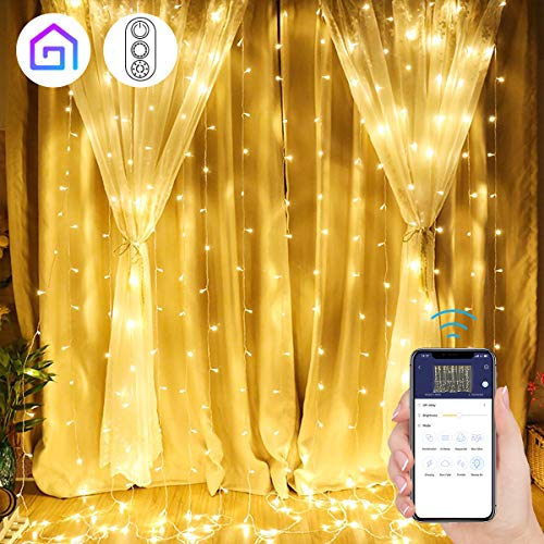 MINGER Window Curtain String Light, 300 LED String Lights Plug in for Wedding Party Home Garden Bedroom Outdoor Indoor Wall Christmas Decorations, Warm White