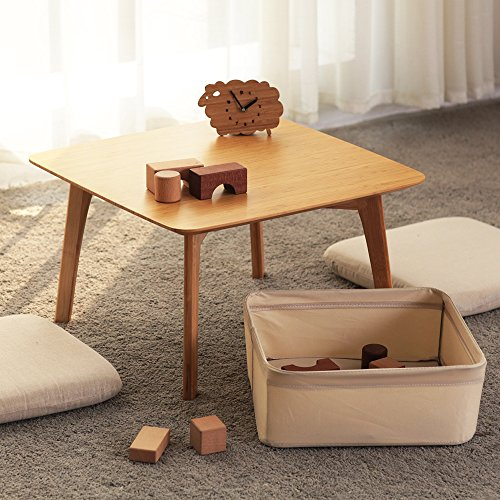 Square Coffee Table Tatami Table with Storage Basket and 2 Sponge Cushions Bedroom Furniture (Square Coffee Table With Storage Baskets)