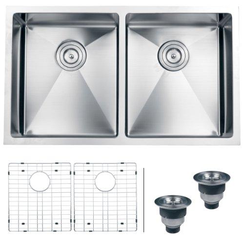 Ruvati RVH7401 Undermount 16 Gauge 32 Kitchen Sink Double Bo