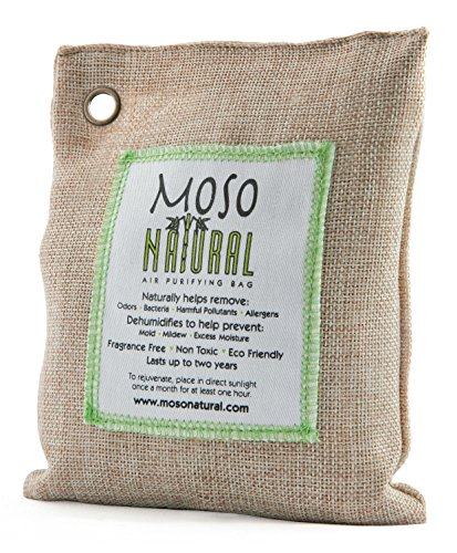 Moso Natural Air Purifying Bag. Odor Eliminator for Cars, Closets, Bathrooms and Pet Areas. Captures and Eliminates Odors. Natural Color, 200-G