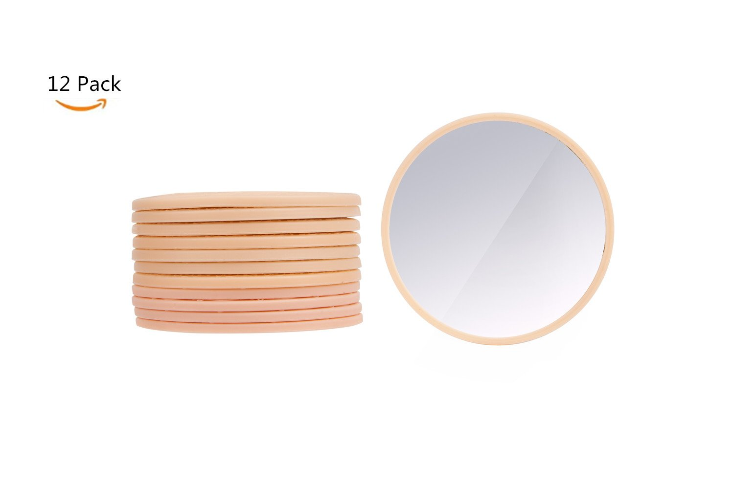 NCToys Compact Mirrors Bulk Small Gift Perfect for Purses 2.5 Inch Round Glass Mirror Random Pattern Pack of 12 Purple