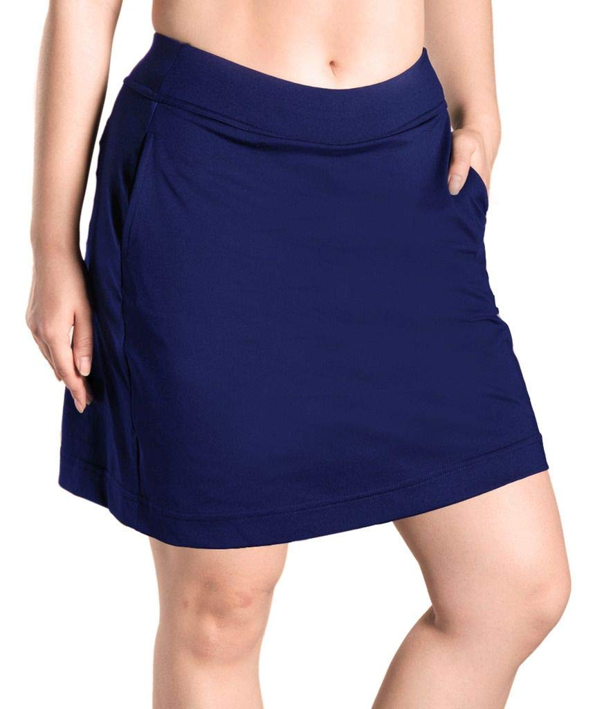 Yogipace Women's 4 Pockets UV Protection 17'' Long Tennis Running Skirt Athletic Golf Skort Anytime Casual Skort Navy Blue Size S by Yogipace
