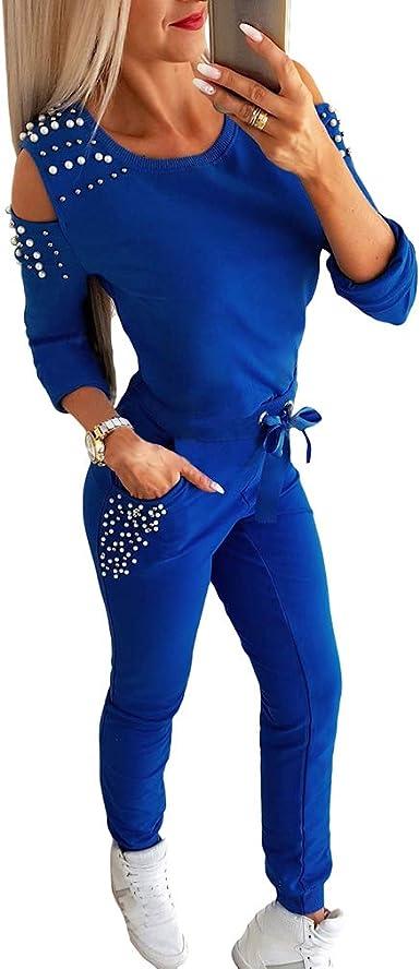 hibote Conjunto de Chándal de Mujer, 2 Pcs Moda Sportwear con ...