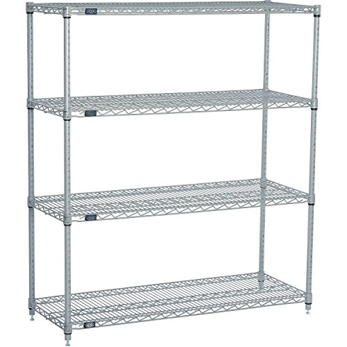 "Nexel 4-Shelf  Wire Shelving Unit, Silver Finish, 18""W x 60"""