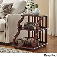 TRIBECCA HOME Lorraine Wood Scroll End Table in (Berry Red)