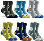 Boys Warm Socks Kids Winter Crew Socks Thick Cotton Cartoon Socks for Boys 6 Pairs