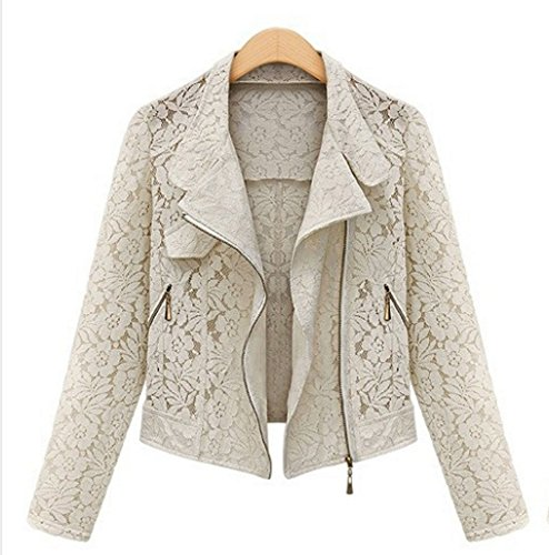[Lace Biker Jacket 2015 Autumn New Brand High Quality Full Lace Outwear Leisure Casual Short Jacket Metal Zipper Jacket Color:Ivory] (Faux Chain Hooded Costumes)