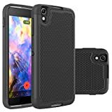 Alcatel Idol 4 Rugged Impact (Drop Protection) Hybrid Dual Layer (Shock Proof) Rubber Defender Hard Case Cover Shell by theMobileArea - Black