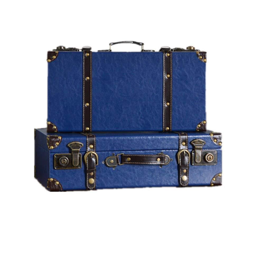 Jtoony-HO Koffer Antik Set 2 Vintage-Storage Box Retro Koffer for Schlafzimmer, Wohnzimmer - mit Griffen und Locking-Haken (4 Farben) (Farbe : Blau, Größe : L+S)