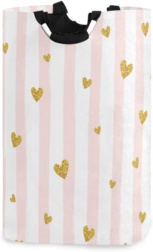 senya Gold Heart On Pink Stripe Laundry Basket Collapsible Laundry Hamper with Handle Foldable Laundry Bin