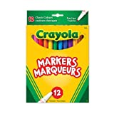 Crayola 12 Fine Line Original Markers, Adult Colouring, Bullet Journaling, School and Craft Supplies, Drawing Gift for Boys and Girls, Kids, Teens Ages  5, 6,7, 8 and Up, Holiday Toys, Stocking Stuffers, Arts and Crafts