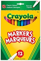 Crayola 12 Fine Line Original Markers, Adult Colouring, Bullet Journaling, School and Craft Supplies, Drawing Gift for...
