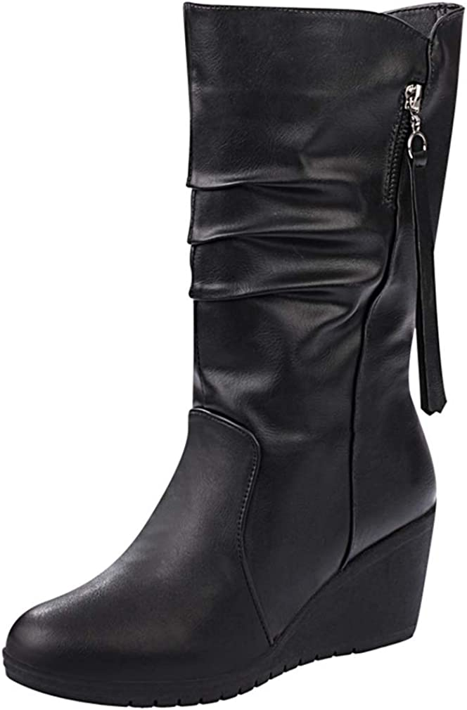 CYBLING Women's Slouchy Wedge Boots Round Toe Faux Fur Lined Winter Black Mid Calf Boots