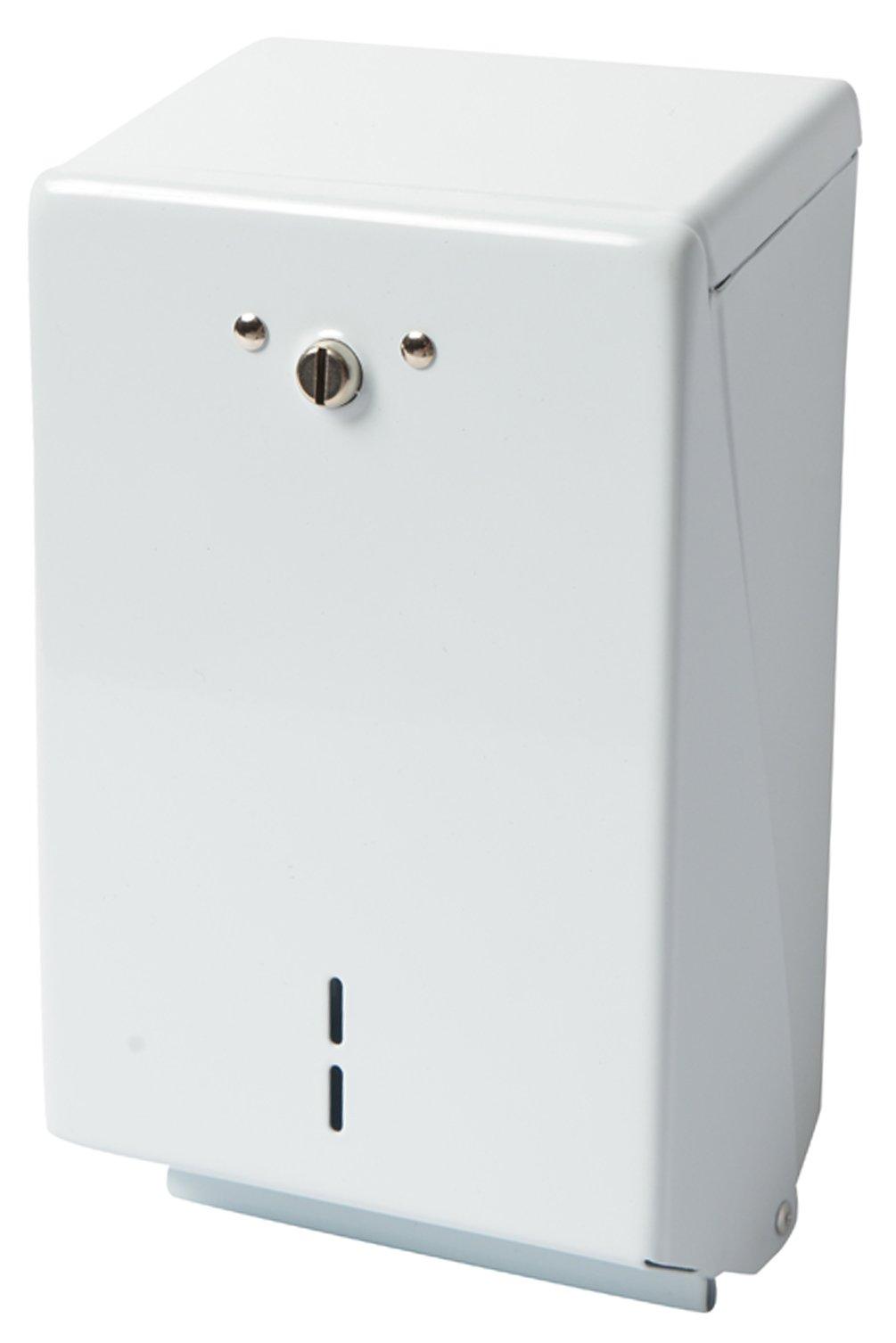 Janico 2503 Pre Cut Toilet Paper Dispenser, Dispenses Single or Double Fold Toilet Tissue, Capacity 1330 Tissues, White, 1 Pc